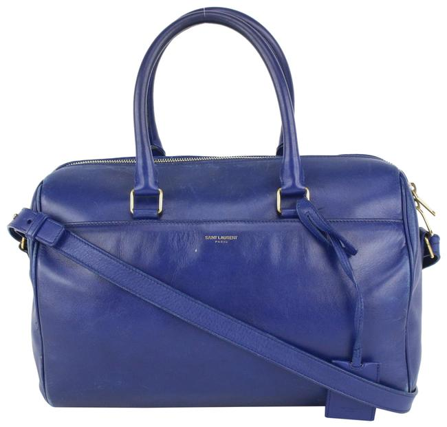 Item - Duffle 6 with Strap 240ysl716 Blue Leather Cross Body Bag