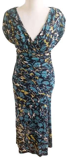 Item - Blue Floral Casual Midi Cocktail Dress Size 6 (S)