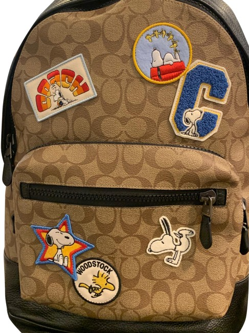 Item - Peanuts West In Signature Canvas with Varsity Patches Qb/Khaki Multi Leather Backpack