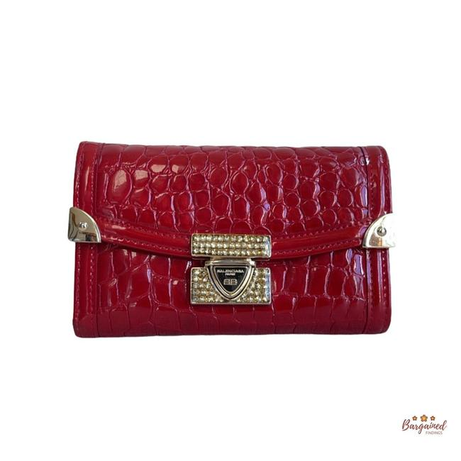 Item - Red Crocodile Embossed Patent Leather Trifold Wallet