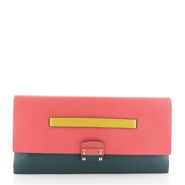 Item - Mime Colorblock Green Orange Pink Yellow Leather Clutch