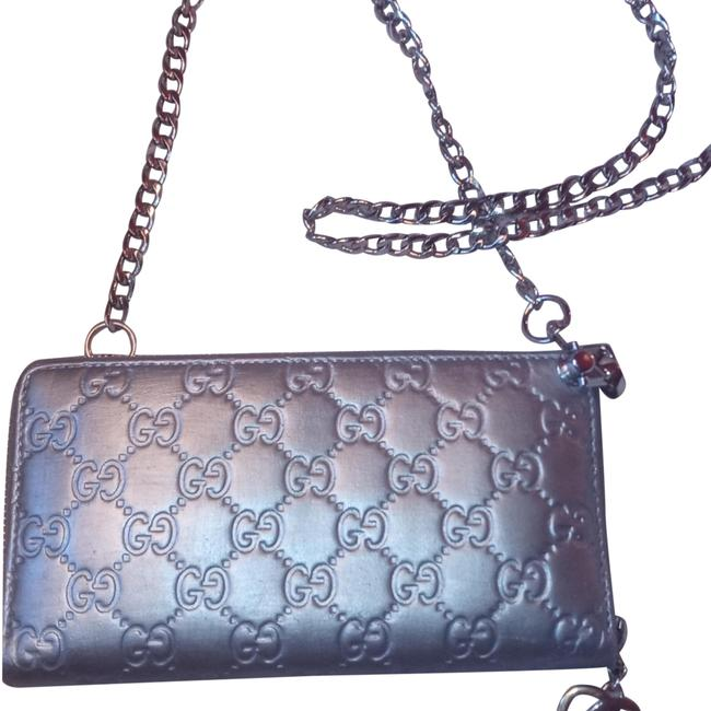 Item - Chain Silver Wallet Card Holder Leather Cross Body Bag