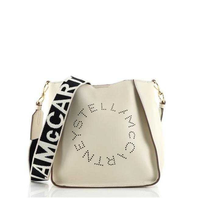 Item - Logo Perforated Mini Neutral Faux Leather Cross Body Bag