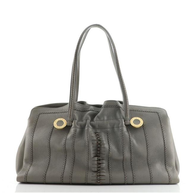 Item - Pleated Stitched Large Gray Leather Tote