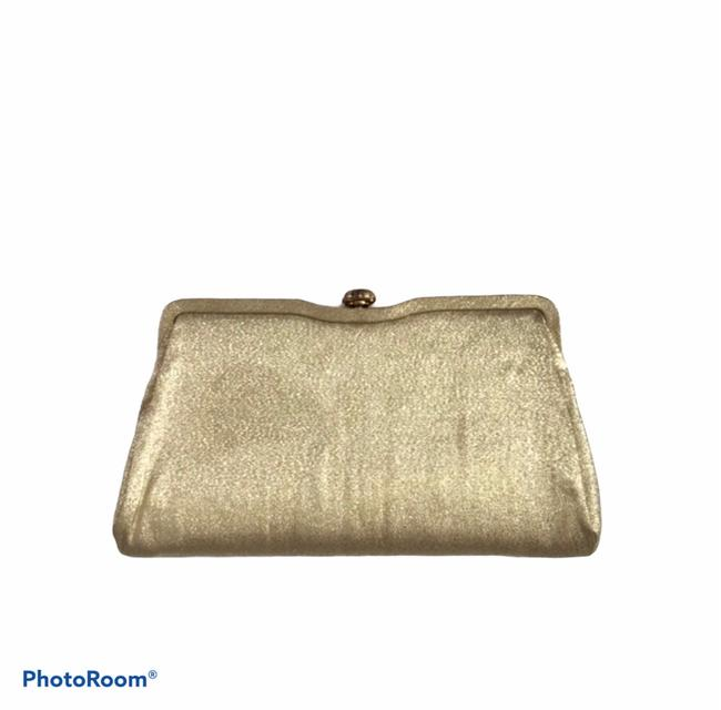 Item - 1960's Envelope Gold Lame Fabric Clutch