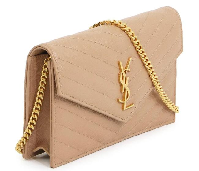Item - Chain Wallet Crossbody New Ysl Monogram Quilted Purse Beige Leather Shoulder Bag