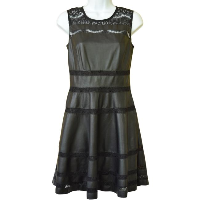 Item - Black Red Faux Leather and Lace Fit & Short Night Out Dress Size 4 (S)