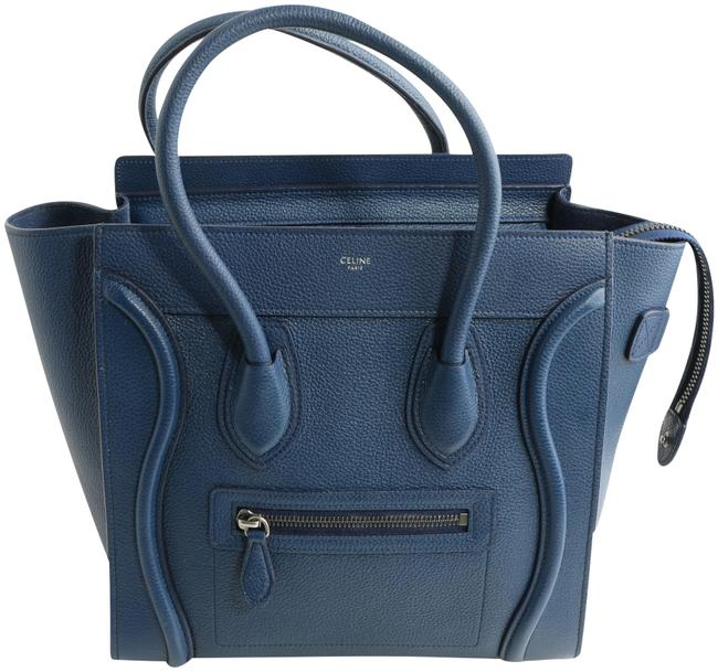 Item - Cabas Phantom Bag Luggage Grained Small Blue Leather Tote