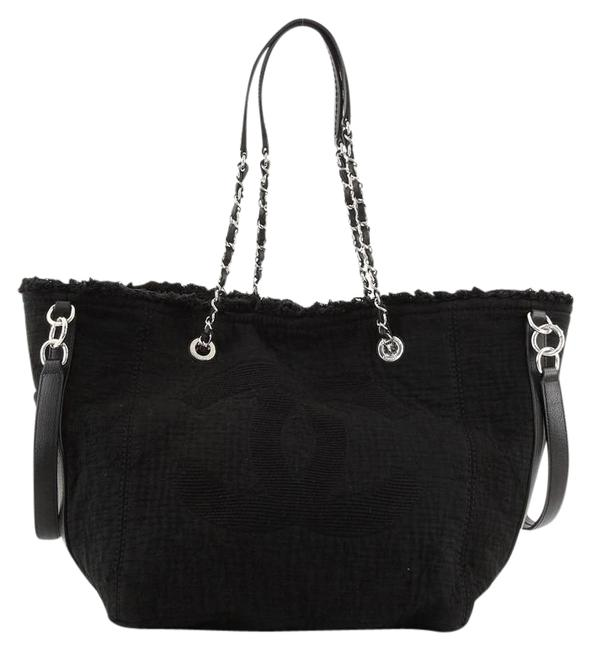 Item - Deauville Double Face Fringe Quilted Small Black Canvas Tote