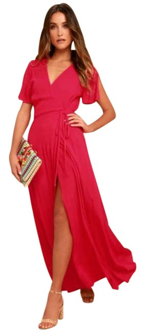 Item - Red XS Much Obliged Wrap Maxi Rayon Cocktail Dress Size 2 (XS)