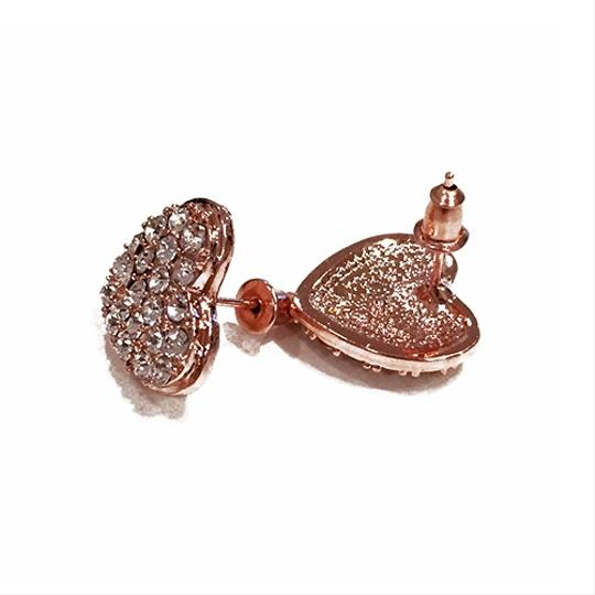 Other Love Always Pave Heart Earring Studs 18k Rose Gold Plated Image 1