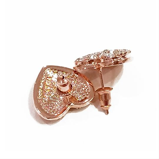 Other Love Always Pave Heart Earring Studs 18k Rose Gold Plated Image 2