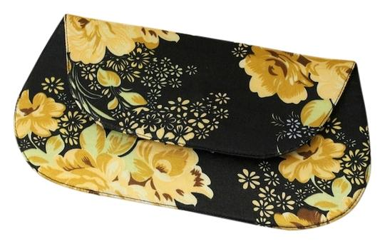 Other New Evening Formal Wedding Bridesmaid Bridal Gift Floral Black / Yellow Clutch