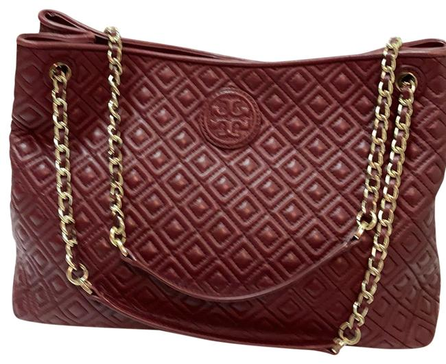 Item - Fleming Tote Red Agate (Burgundy) Leather Satchel