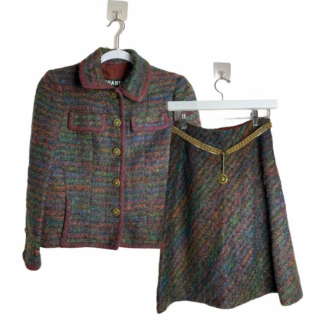 Item - Blue Rare 1960s Couture Tweed Wool Set Skirt Suit Size 4 (S)