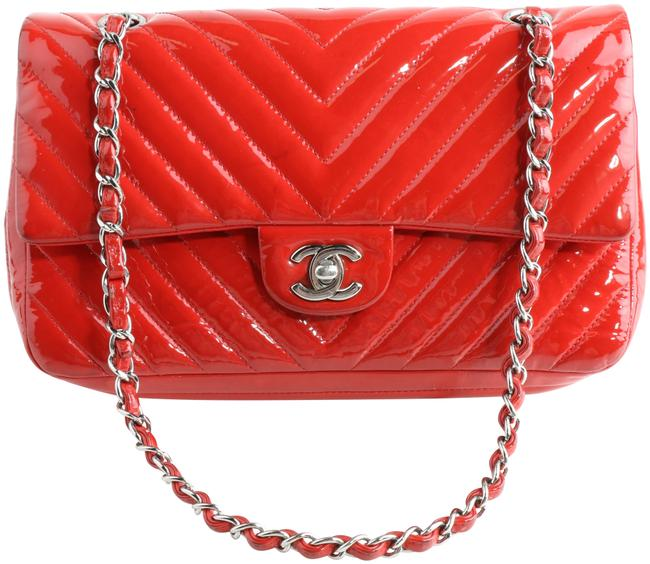 Item - Classic Flap Chevron Quilted Caviar Classic Medium Double Red Patent Leather Shoulder Bag