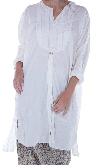 Item - White Cotton Poplin with Cross Stitch Mid-length Short Casual Dress Size OS (one size)