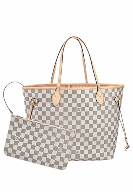 Item - Neverfull New 2021 Mm Azur with Rose Pink Ballerina Lining White Leather Tote