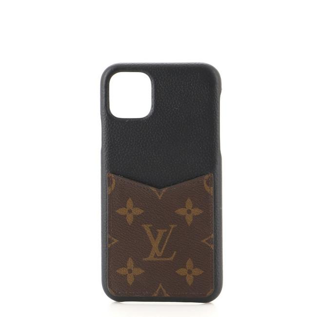 Item - Black Brown Bumper Case Leather with Monogram Canvas Iphone 11 Pro Max Tech Accessory
