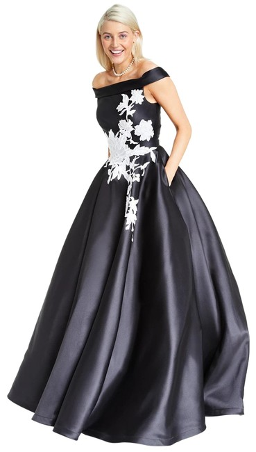 Item - Black White Glamour By Juniors' Off-the-shoulder Mikado Gown Long Formal Dress Size 14 (L)