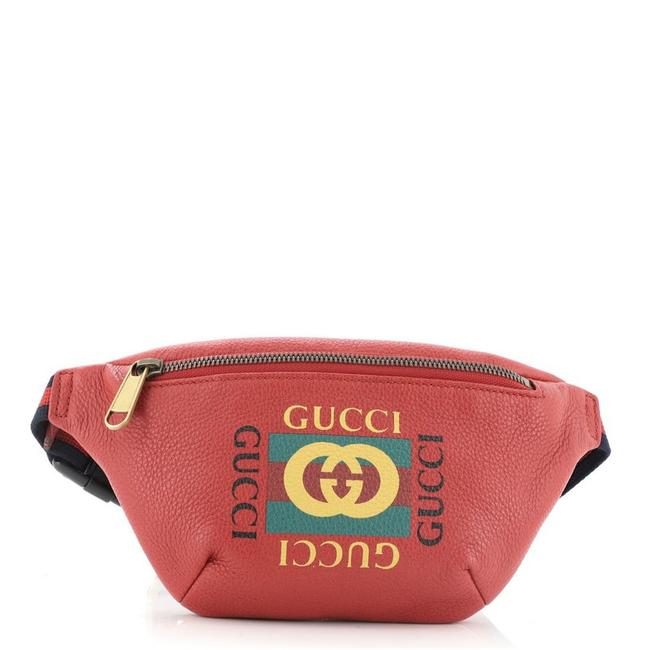 Item - Belt Logo Printed Small Red Leather Cross Body Bag