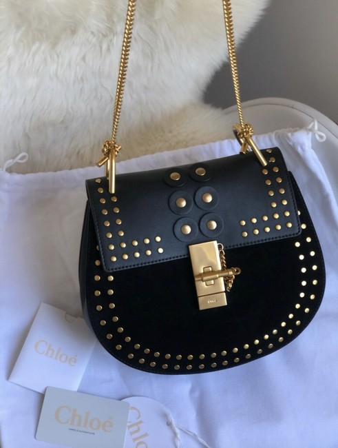 Item - Drew Small Studded Black Leather Suede Saddle Cross Body Bag