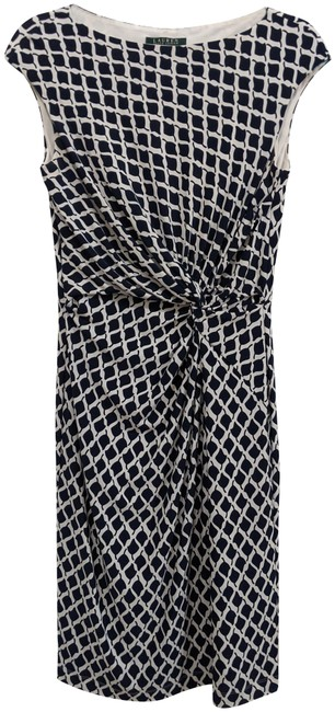 Item - Dark Blue and White Mid-length Cocktail Dress Size 8 (M)
