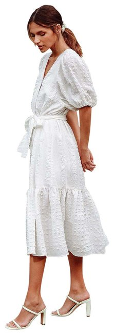 Item - White Sunny Love Seersucker Puff Sleeve Button-front Midi Mid-length Casual Maxi Dress Size 4 (S)
