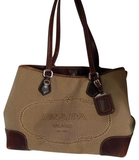 Item - Canapa Jacquard Brown Canvas Leather Tote
