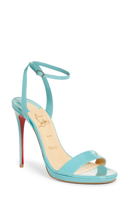 Item - Turquoise Blue Loubi Queen 120 Patent Leather Ankle Strap Sandals Size EU 37.5 (Approx. US 7.5) Regular (M, B)