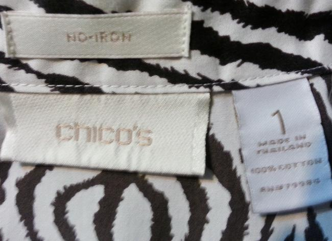 Chico's Animal Button Down Shirt Black & White Zebra print