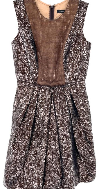 Item - Brown Copper Pleated Short Casual Dress Size 4 (S)