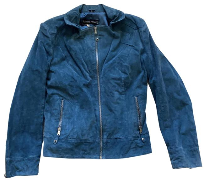Item - Blue Sueded Zippered Jacket Size 6 (S)