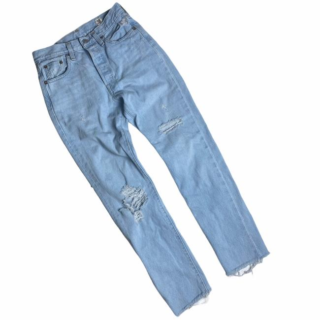Item - Distressed White Oak Cone Denim Button Fly High Rise Destroyed Raw Hem 501's Cotton Light Wash Skinny Jeans Size 0 (XS, 25)