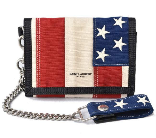 Item - Blue / Red Color / White Chain Ysl Canvas Bostonnastro 556469 935a6 2686 Wallet