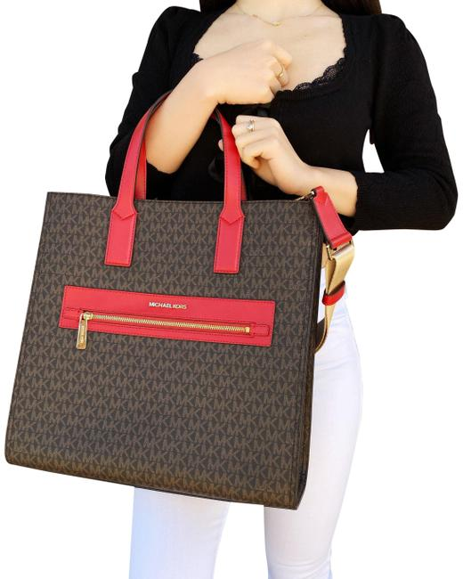 Item - Crossbody Kenly Large Ns Mk Signature Flame Red Brown Canvas / Leather Tote