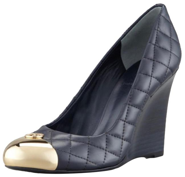 Item - Black Kaitlin Quilted Gold Cap Toe Pump Leather Wedges Size US 5.5 Regular (M, B)