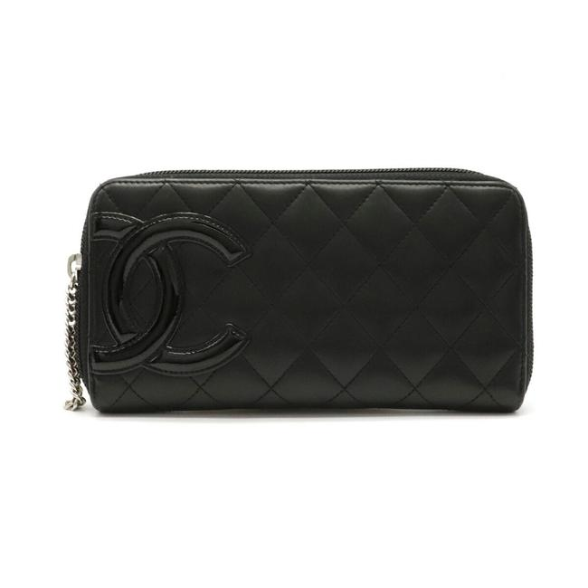 Item - Black / Pink Long Cambon Line Coco Mark Round Soft Calf Leather A50078 Wallet