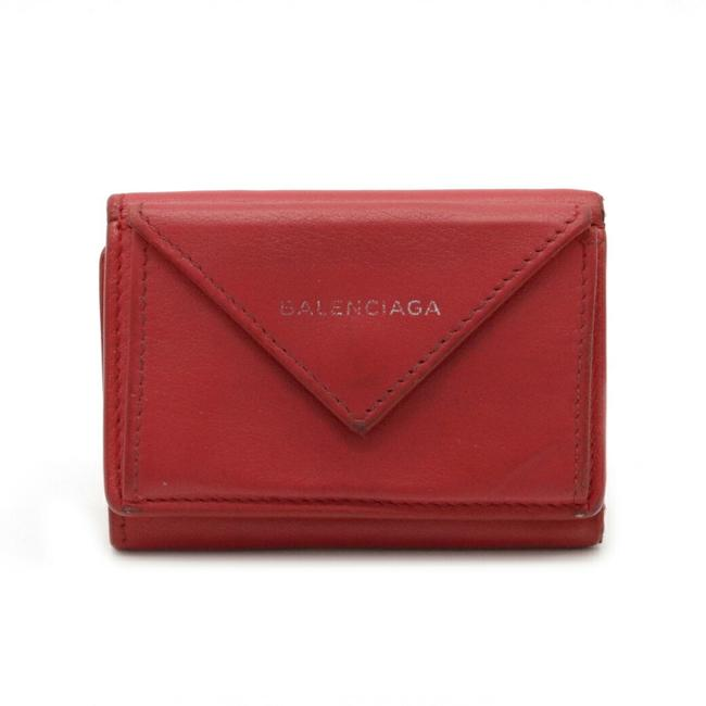 Item - Red Color Paper Mini Tri-fold Leather 391446 Wallet