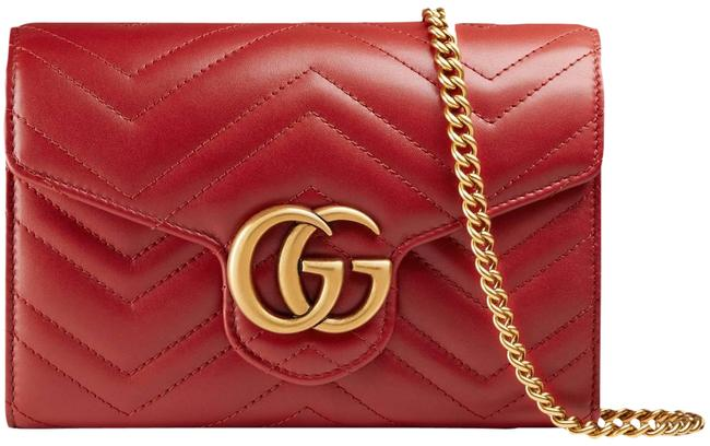 Item - Chain Wallet Mini Marmont Gg Matelassé Quilted Red Leather Cross Body Bag
