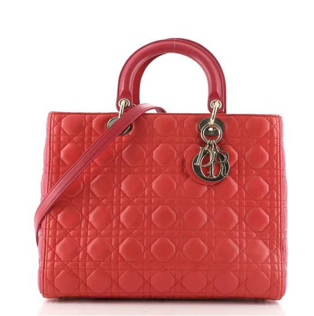 Item - Lady Bicolor Cannage Quilt Lambskin Large Multicolor Pink Red Leather Satchel