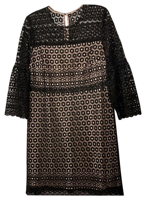 Item - Black and Tan Lace Mid-length Cocktail Dress Size 14 (L)