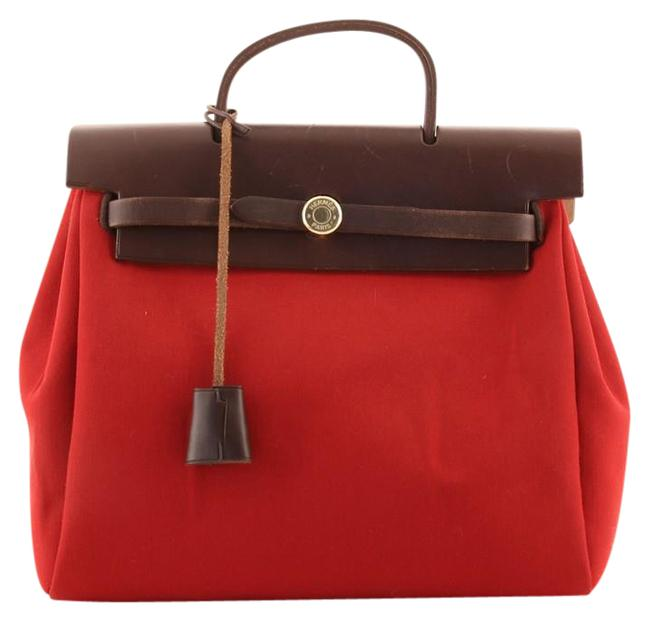 Item - Herbag A Dos Toile Brown Red Canvas (Plain) Leather Backpack
