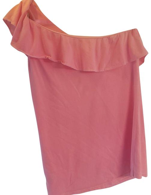 Item - Pink Neveah One Shoulder Flounce Ruffle Blouse Size 4 (S)