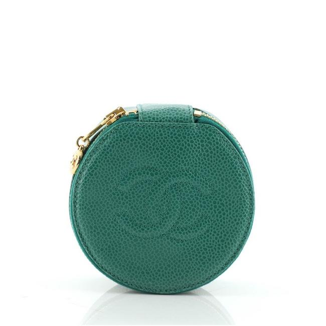 Item - Green Vintage Timeless Round Jewelry Case Caviar Mini Cosmetic Bag