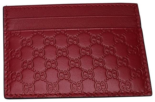 Item - Red Microguccissima Card Case Holder Wallet