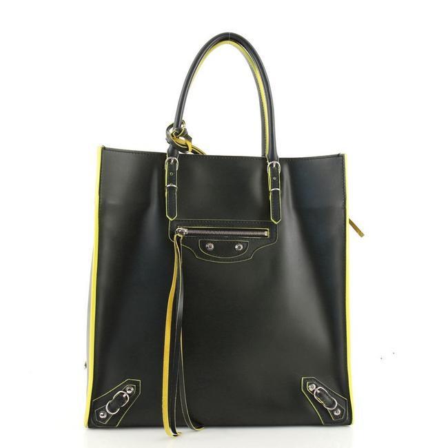 Item - Papier A5 Zip Around Classic Studs Green Yellow Leather Tote