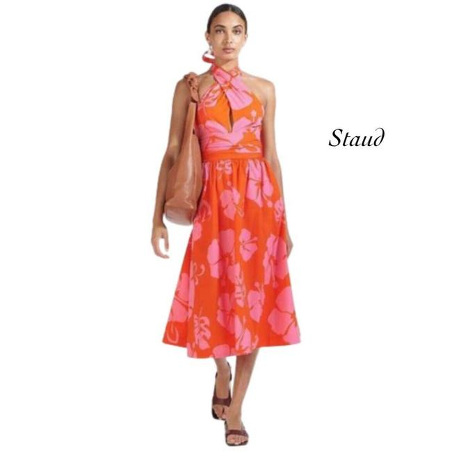 Item - Multicolor Moana Red Pink Hibiscus Floral Halter Cocktail Dress Size 2 (XS)