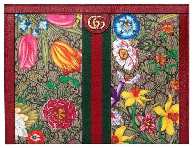Item - Clutch New Floral Zip Pouch Multi Red Leather Gg Supreme Canvas Tote