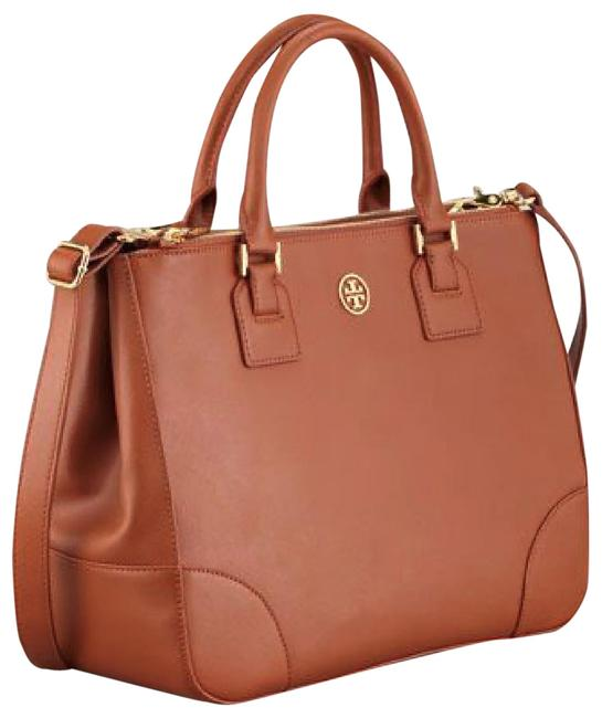 Item - Robinson Luggage Double-zip Brown Saffiano Leather Tote